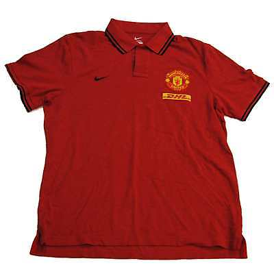 Manchester United Nike Red Futbol Soccer Cotton Golf Polo Shirt (XL)