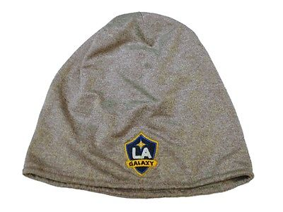 Los Angeles LA Galaxy Adidas MLS Performance Gray Skull Cap Hat Beanie