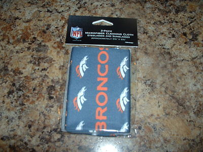 NFL DENVER BRONCOS 2 Pack Microfiber Cleaning Cloth New Never Opened