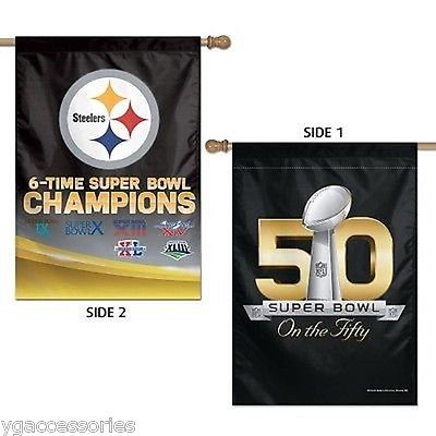 NFL 50 Anniversary Pittsburgh Steelers 6X SB Champs 28x40 2-Side Vertical Flag