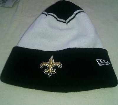 New Orleans Saints NFL White Black Cap - Cuff Beanie Knit Hat without tags