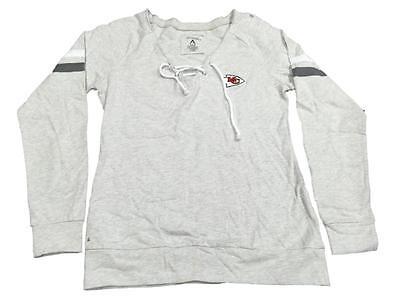 Kansas City Chiefs NFL Antigua WOMEN Heather Gray Lace Up LS Sweatshirt (M)