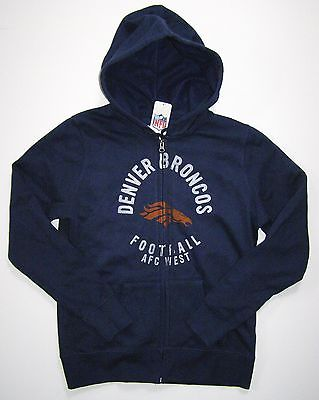 NFL Denver Broncos Womens Distressed First Round Full Zip Hoodie Jacket