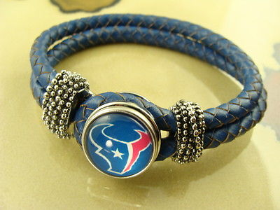 HOUSTON TEXANS NFL leather blue braided bracelet with removable snap button