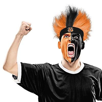 NFL Cincinnati Bengals Fuzzy Head Wig, 10.5-Inch x 6-Inch, Orange