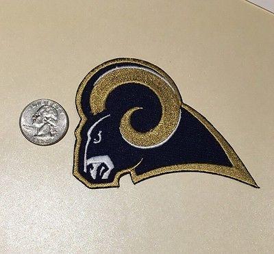 "Los Angeles / St. Louis Rams 4"" NFL Left Facing Patch gold border"