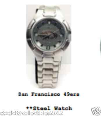 NFL Football San Francisco 49ers Mens Steel Wrist Watch Brand New SRP $119.99