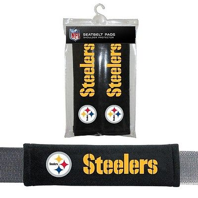 NFL 96713 Pittsburgh ers Universal Fit 100% Polyester Seat Belt Pads (2 Pack)