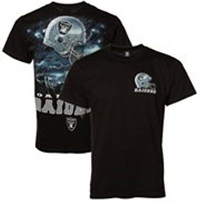 NWT NFL Liquid Blue Men's Oakland Raider's Sky Helmet Black Tee: M, L & 2XL