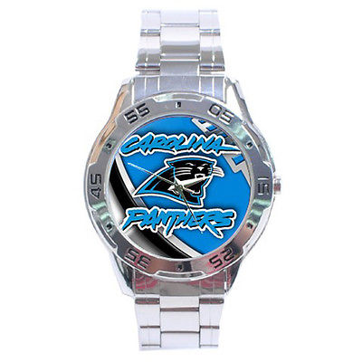 *NEW* HOT NFL CAROLINA PANTHERS STAINLESS STEEL ANALOG MENS WRIST WATCH