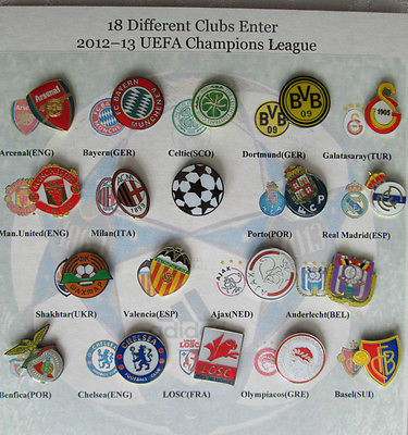 18 FOOTBALL SOCCER CLUB ENAMEL PIN BADGES UEFA CHAMPIONS LEAGUE 2012-2013