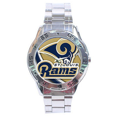 *NEW* HOT NFL ST. LOUIS RAMS STAINLESS STEEL ANALOG MENS WRIST WATCH SEXY!